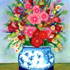 Ricardos Creations - Red and Pink Rose Flower Garden Still Life Painting 615