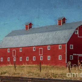 Red Barn by the Railroad Tracks by Teresa Wilson