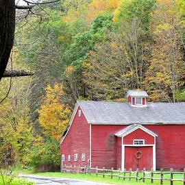 Red Barn in Autumn by Carol McGrath
