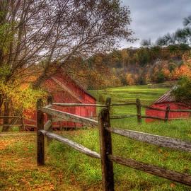 Joann Vitali - Red Barn in Autumn - Vermont Farm