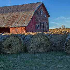 Red Barn Round Bales by Alana Thrower