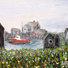 Ian  MacDonald - Red Boat in Peggys Cove Nova Scotia