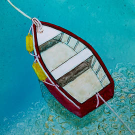 Red Boat Moored by Patricia Beebe