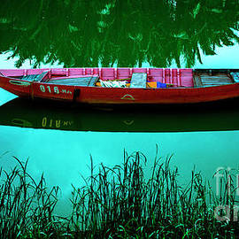 Red Boat Blue Sky Asia by Thomas Levine