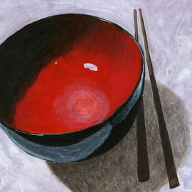 Red Bowl and Chop Sticks by Karyn Robinson