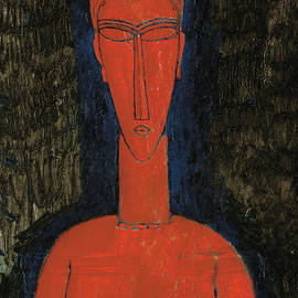 Red Bust, Caryatid, 1913 - Amedeo Modigliani