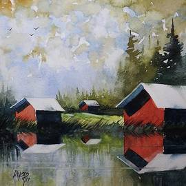 David K Myers - Red Cabins, Watercolor