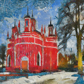 Yury Malkov - Red Church in Winter Scape