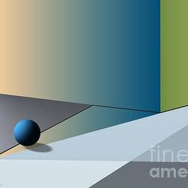 Red Corner And Blue Ball by Leo Symon