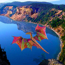 Red Crystal Crater Lake Dragon by Michele Avanti