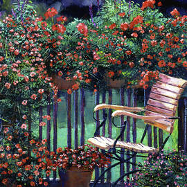 David Lloyd Glover - Red Flowers Garden Chair