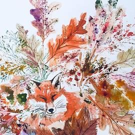 Red Fox Autumn Leaves  by Ellen Levinson