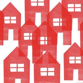 Red Houses- Art By Linda Woods by Linda Woods