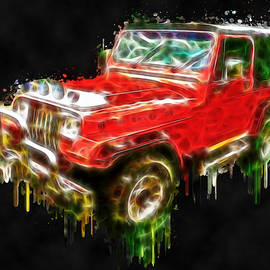 Georgeta Blanaru - Red Jeep Off Road digital painting