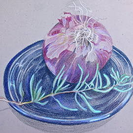 Red Onion with Rosemary Sprig  by Bonnie See