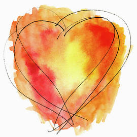Carol Leigh - Red Orange Yellow Watercolor and Ink Heart