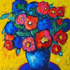 Ana Maria Edulescu - Red Poppies And Blue Flowers - Abstract Floral