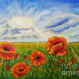 Red poppies at the field by Olga Malamud-Pavlovich