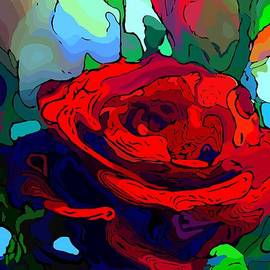 Red Rose Abstract Art by Karen Harding
