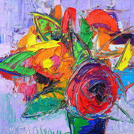 Ana Maria Edulescu - Red Rose And Wildflowers Abstract Modern Impressionist Palette Knife Oil Painting Ana Maria Edulescu