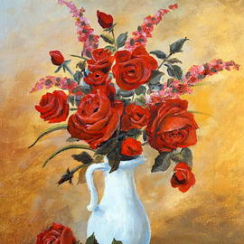 Red Roses in a White Pitcher by Alan Lakin