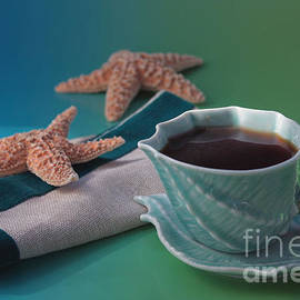 Red Starfish And Coffee by Luv Photography