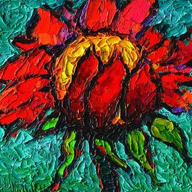 Ana Maria Edulescu - Red Sunflower Modern Impressionist Colorful Floral Palette Knife Oil Painting By Ana Maria Edulescu