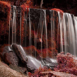 Red surreal Waterfall by Sandra Rugina