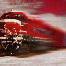 Debra and Dave Vanderlaan - Red Train in the Snow in Motion Painting