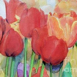 Greta Corens - Watercolor of Blooming Red Tulips in Spring