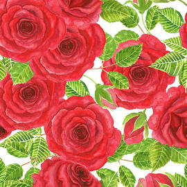 Katerina Kirilova - Red watercolor roses with leaves and buds pattern