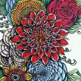 Pamela Blayney - Red Zentangled Bouquet