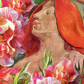 Redheaded Woman With Roses