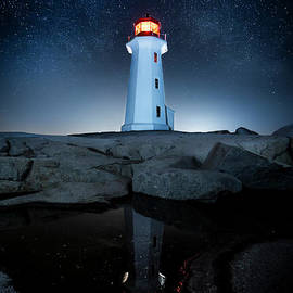 Reflecting in the Night, Peggy's Cove Lighthouse, Nova Scotia by Mike Organ