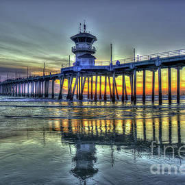 Reid Callaway - Reflections From Afar Huntington Beach Pier Sunset Los Angeles Collection Art