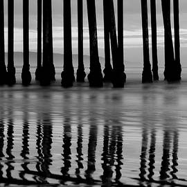 Gregory Ballos - Reflections Under the Pier - Pismo Beach California BW