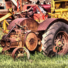 Remains of an old farm tractor