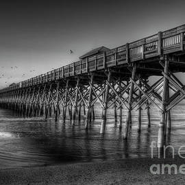 Reid Callaway - Resplendent Glow B W Folly Beach Pier Charleston South Carolina Art