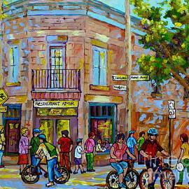 Restaurant Amir Montreal Street Summer City Scene Cycling A Bicycle Path Canadian Art Carole Spandau by Carole Spandau