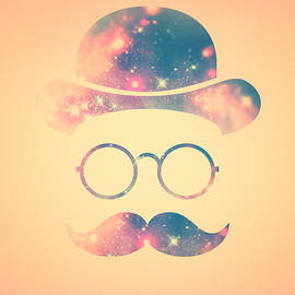 Philipp Rietz - Retro Face with Moustache and Glasses  Universe  Galaxy Hipster in Gold