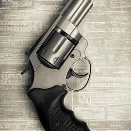 Revolver Pistol Gun over drawings - Edward Fielding
