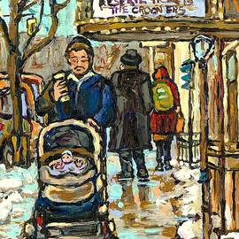Rialto Theatre Beatles Marquee Cell Phone Man Baby Carriage Winter  Park Ave Montreal Carole Spandau by Carole Spandau