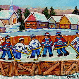 Rink Hockey Game In The Country Winter Village Snowscene Canadian Landscape C Spandau Quebec Artist  by Carole Spandau