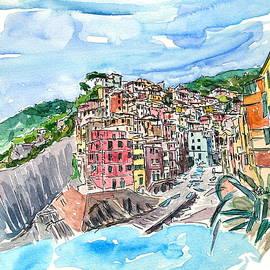 Riomaggiore Cinque Terre View from Mediterranean III