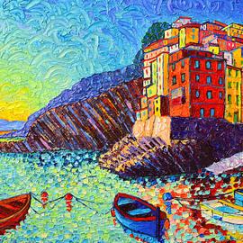 Ana Maria Edulescu - Riomaggiore Sunset - Cinque Terre Italy - Palette Knife Oil Painting By Ana Maria Edulescu