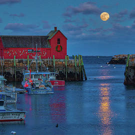 Rising Full Moon over Massachusetts Rockport Harbor Village by Juergen Roth