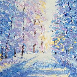 Road in the winter forest by Olga Malamud-Pavlovich