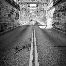 Gregory Ballos - Road to the John A. Roebling Bridge - Cincinnati Ohio - Black and White