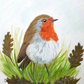 Robin with Oakleaves by Philip Harvey
