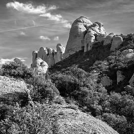 Rock Formations Montserrat Spain II Bw by Joan Carroll